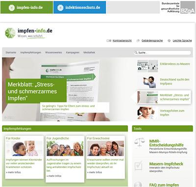 Screenshot der Internetseite www.impfen-info.de