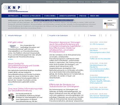 Screenshot der Internetseite www.knp-forschung.de