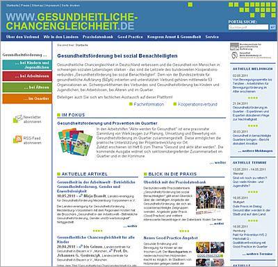 Screenshot der Internetseite www.gesundheitliche-chancengleichheit.de