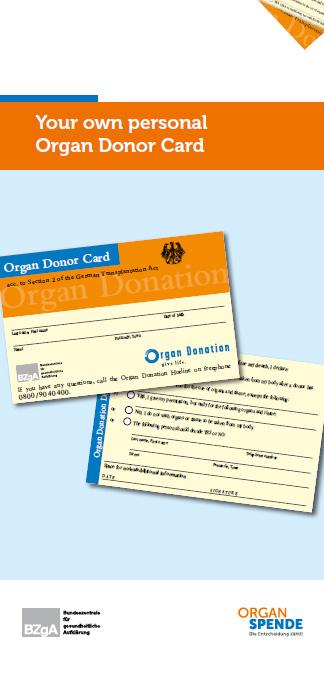 Bild zu Flyer mit integriertem Organspendeausweis - Englisch