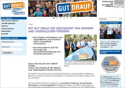Screenshot der Internetseite www.gutdrauf.net