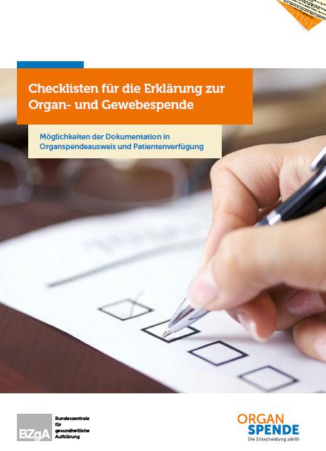 Bild zu Checkliste für die Erklärung zur Organ- und Gewebespende (8-Seiter mit Organspendeausweis)