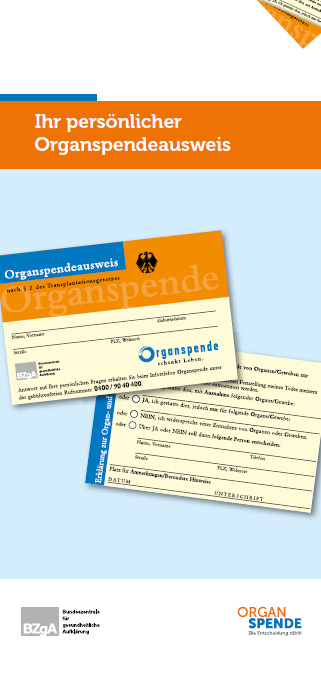 Flyer mit integriertem Organspendeausweis