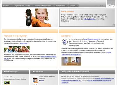 """Screenshot Fachdatenbank """"Prävention von Kinderunfällen"""""""
