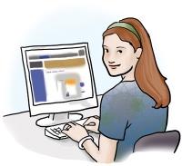eine junge Frau sitzt vor dem Bildschirm
