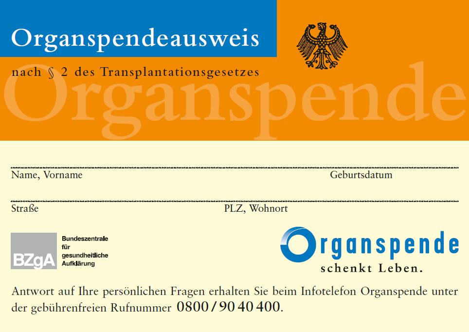 Bild zu Organspendeausweis, A4