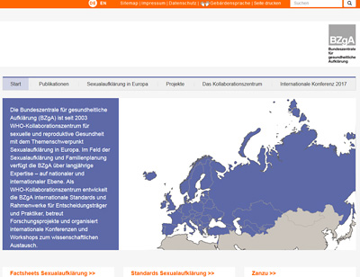 Screenshot der Internetseite www.bzga-whocc.de