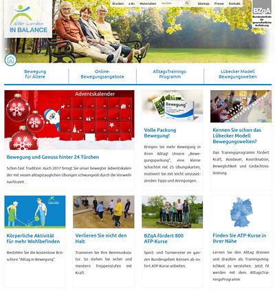 Screenshot der Internetseite www.aelter-werden-in-balance.de