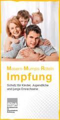 Titelseite des Faltblatts zur Impfung gegen Masern, Mumps und Röteln - Deutsch