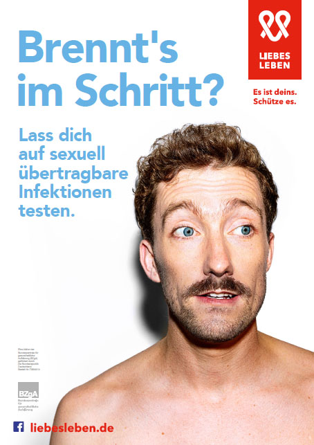 "Bild zu LIEBESLEBEN 2019 - Innenraumplakat Motiv ""Brennt's im Schritt? (Mann)"""