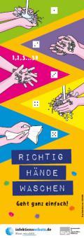 """Bild zu Aufkleber """"Richtig Hände waschen"""", groß für Kindertagesstätten"""