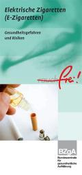 Titelseite des Faltblattes: Elektrische Zigaretten ( E-Zigaretten)