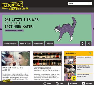 Screenshot der Internetseite www.kenn-dein-limit.info für Jugendliche