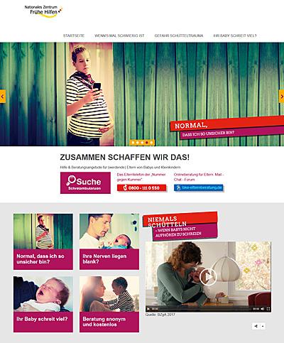 Screenshot der Internetseite www.elternsein.info