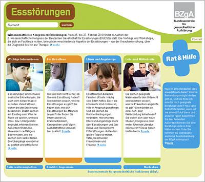 Screenshot der Internetseite www.bzga-essstoerungen.de