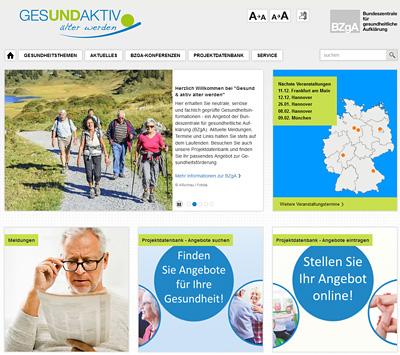 Screenshot der Internetseite www.gesund-aktiv-aelter-werden.de