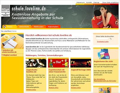 Screenshot der Internetseite www.schule.loveline.de