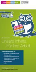 Titelseite des Faltblatts: Wir sind so frei! Unsere Inhalte. Für Ihre Arbeit.