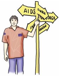 junger Mann steht neben einem Wegweiser mit Themen der BZgA (Kinder, AIDS, Organ...)