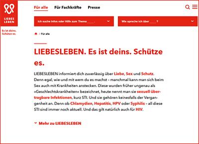 Screenshot der Internetseite www.liebesleben.de