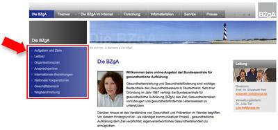 Screenshot bzga.de - Azsschnitt mit der linken Navigationsspalte
