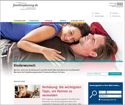 Screenshot der Internetseite www.familienplanung.de