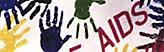 Bildmarke Medienübersicht bei Aidsprävention - Buntes Bild mit farbigen Händeabdrücken und dem Schriftzug AIDS