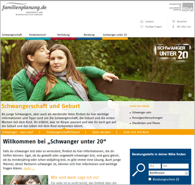 Screenshot der Internetseite www.schwanger-unter-20.de