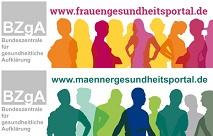 Banner für www.maennergesundheitsportal.de und www.frauengesundheitsportal.de