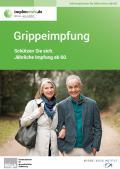 Titelseite der Broschüre: Grippeimpfung - Schützen Sie sich. Jährliche Impfung ab 60.