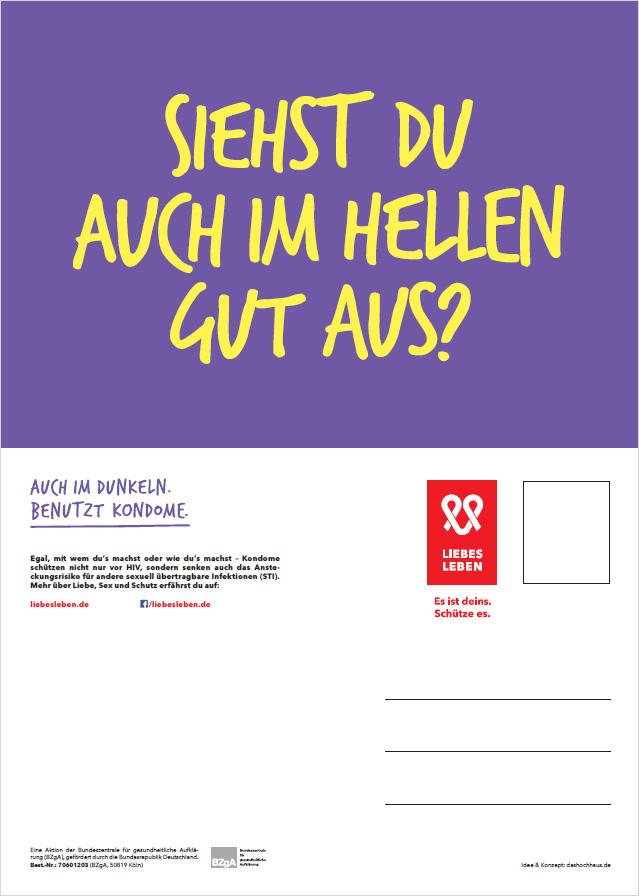 """Bild zu LIEBESLEBEN Postkarte Motiv """"Siehst Du auch im Hellen gut aus?"""""""