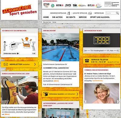 Screenshot der Internetseite www.alkoholfrei-sport-geniessen.de