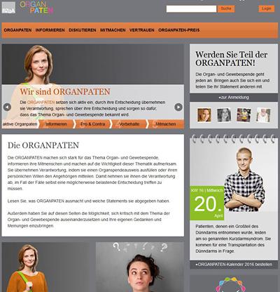 Screenshot der Internetseite www.organpaten.de
