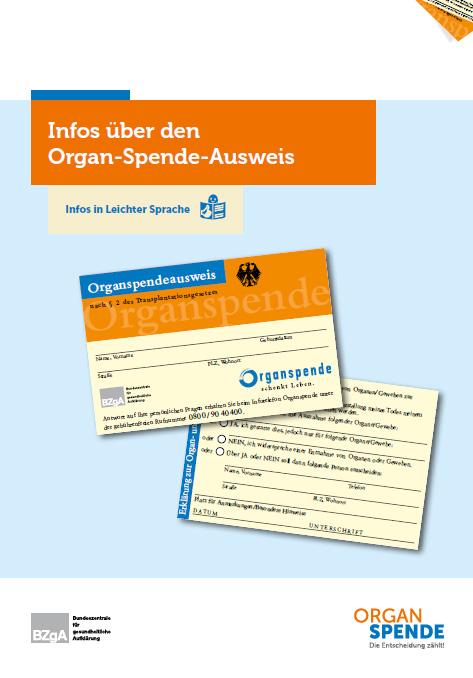 Bild zu Broschüre mit integriertem Organspendeausweis in Leichter Sprache