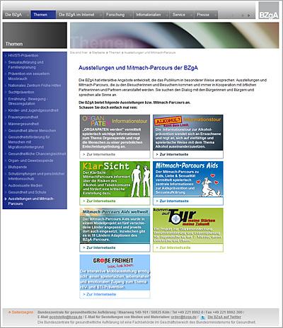 Screenshot der Internetseite www.bzga-ausstellungen.de
