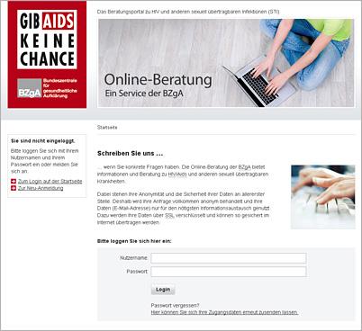 Screenshot der Internetseite www.aidsberatung.de