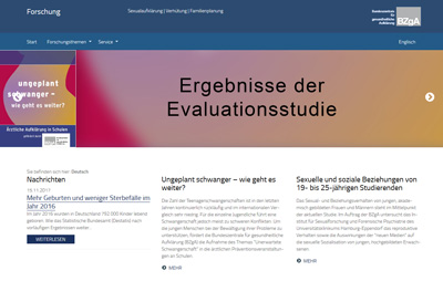 Screenshot der Internetseite forschung.sexualaufklaerung.de