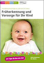 Titelseite der Broschüre: Früherkennung und Vorsorge für Ihr Kind