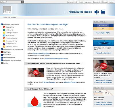 Screenshot der Internetseite www.bzga-avmedien.de