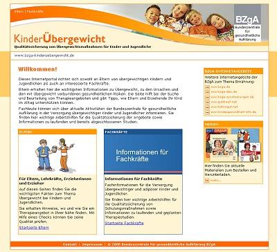 Screenshot der Internetseite www.bzga-kinderuebergewicht.de
