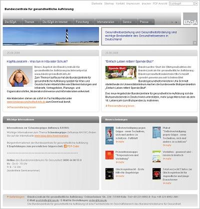 Screenshot der Internetseite www.bzga.de