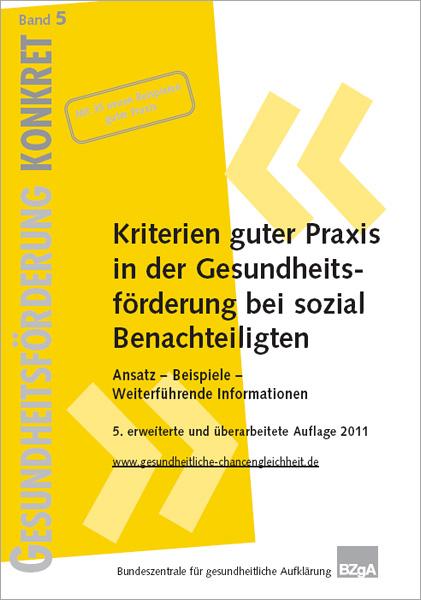 Titelseite der Broschüre: Gesundheitsförderung Konkret - Band 5: Kriterien guter Praxis in der Gesundheitsförderung bei sozial Benachteiligten