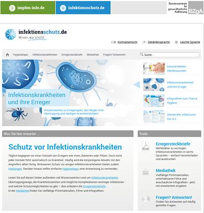 Screenshot der Internetseite www.infektionsschutz.de