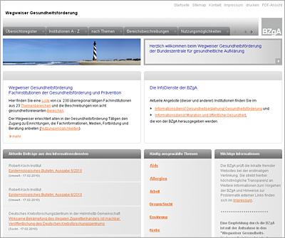 Screenshot der Internetseite www.wegweiser.bzga.de