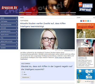 Screenshot der Internetseite www.drugcom.de