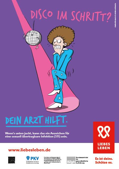 """Bild zu LIEBESLEBEN 2017 - Innenraumplakat Motiv """"Disco im Schritt"""""""