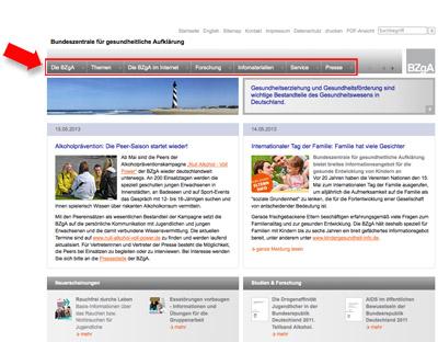 Screenshot bzga.de - Markierung der Rubriken
