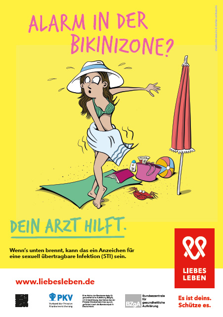 """Bild zu LIEBESLEBEN 2017 - Innenraumplakat Motiv """"Alarm in der Bikinizone"""""""