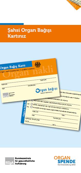 Bild zu Flyer mit integriertem Organspendeausweis - Türkisch