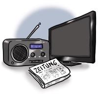 Bildschirm, Radio und eine Zeitung
